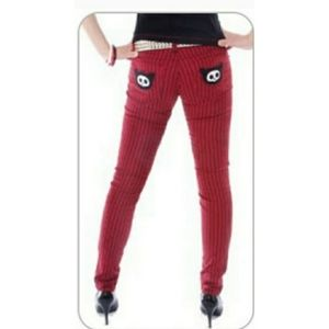 Tripp nyc Red & Black Striped Pants Punk Size 7